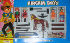 airgamboys 01482 - 2 Cow Boys + 2 Sioux con caballo y canoa
