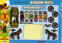 airgamboys 02682 - 3 sioux 3 cow boys con carreta y caballos